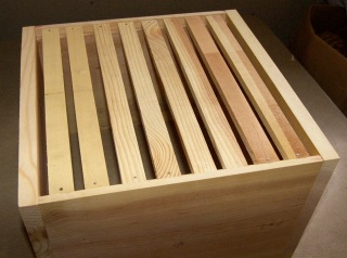 Hive Box with Top Bars Installed